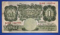"1950 British Bank of England £1, Banknote, Beale Prefix ""D08C"" [21358]"