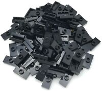 Lego 100 New Black Plates Modified 1 x 2 with 1 Stud with Groove and Bottom Stud