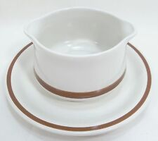 Woodhaven Collection Gravy Boat with Under-plate  Sandusky Cream Brown Rim