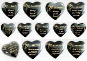MEMORIAL SMALL BLACK & GOLD LILY HEART STONE PLAQUES GRAVESIDE FUNERAL KEEPSAKE