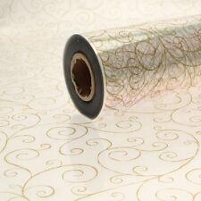 100 METER ROLL OF CELLEOPHANE - GOLD SCROLL PATTERN 80CM WIDTH