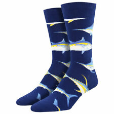 Socksmith Men's Crew Socks Just For Sport Game Fish Navy Blue Novelty Footwear