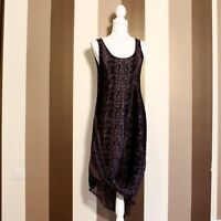 Mint Velvet Black Animal Print Sleeveless Asymmetric Dress Size 10 Scoop Neck