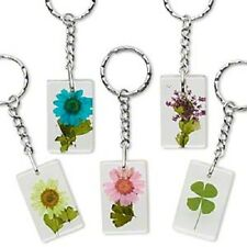1196AS BULK  Key Ring Chain Resin Clear Natural Flower RESALE  Pack of 5 Qty