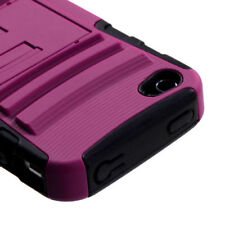 For iPhone 4 4S Hard HYBRID KICK STAND Rubber Silicone Case Phone Cover Pink