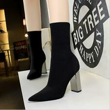 Womens Pointed Toe Ankle Boots Platform Wedge Pumps High Heels Party Shoes Size