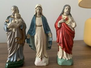 "3 X Vintage Plaster Religious Figures. 5.5 "" High"