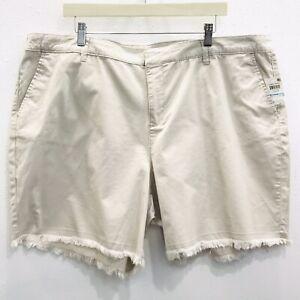 Style & Co Womens Sz 20W Shorts Chino Shorts Beige Raw Hem Casual Zip Front
