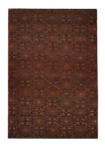 Antique Carpet Handmade Kilim Rug Vintage Brown Wool Area Rug 118x178 cm