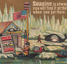 Uncle Sam Arctic North Pole Explorer Whale Soapine Soap Advertising Trade Card