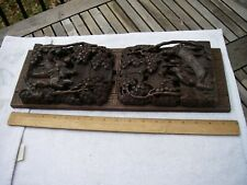 Good ARTS & CRAFTS Wood BOOK RACK w/ANTIQUE CARVED CHINESE ENDS-NR