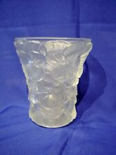 BAROLAC - FROSTED GLASS VASE - PANSIES - RAISED DESIGN - BEAUTIFUL