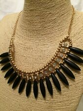 STATEMENT Chunky Long Big Large Gold Black Stone Crystal Chain Necklace Vintage