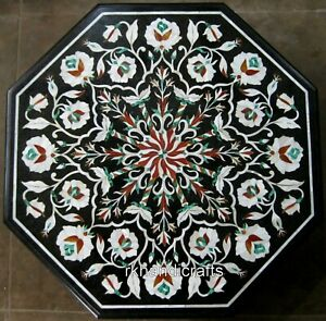 24 Inches Marble Coffee Table Top with Marquetry Art Center table for Home Decor