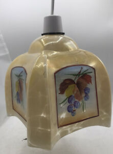 Vintage Mottled Painted Glass Stylized Square Lamp Shade Flowers Light Shade