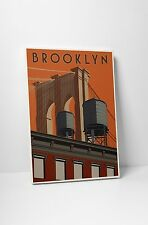 """Brooklyn Travel Poster by Steve Thomas Gallery Wrapped Canvas 20""""x30"""""""