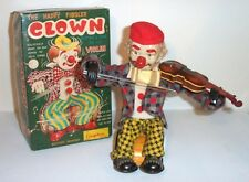 1950's BATTERY OPERATED HAPPY FIDDLER CLOWN MUSICAL TIN LITHO TOY very nice!