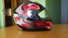casco integrale da uomo AGV, colore rosso, bianco e nero, taglia 52
