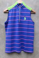 New Polo Ralph Lauren Golf Striped Sleeveless Blue Mockneck Top Shirt M Medium