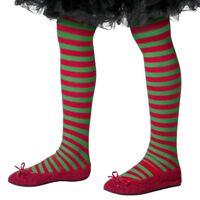 Bambini Elfo di Natale Collant in Maschera Rosso/Verde Calze da Nuovo Smiffys