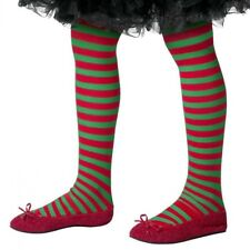 Childs Christmas Elf Fancy Dress Tights Red/Green Girls Tights New by Smiffys