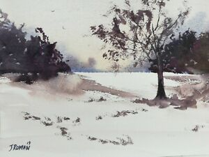 Winter snow scene Landscape art Original watercolour painting 69