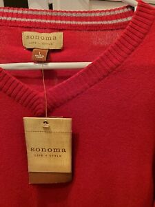 Sonoma NEW red v-neck men's sweater. SIZE L. Lightweight fine knit coton. NWT