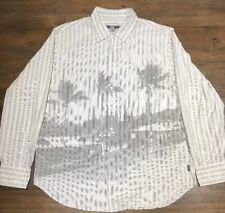 Mens Quicksilver Edition XL Button Down Long Sleeve Cream Shirt Palm Trees House
