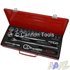 """20Pc Metric 1/2"""" Drive 10-32mm Socket Ratchet Power And Extension Bar Tool Set"""