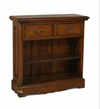 Mahogany Mini Open Bookcase with Two Drawers -