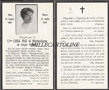 MONTESILVANO: Santino funebre C.ssa Luisa Filo    1947