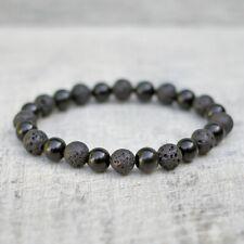 Black Obsidian Bracelet With Lava Natural 8mm Beads Unisex Stretch Fit