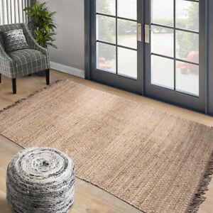loomBloom Hand Woven Ineas Natural Tan Flat weave Jute Area Rug Multi sizes