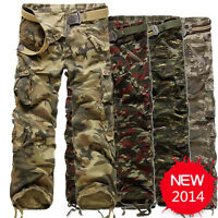 Men's Casual Camouflage Cargo Pants Outdoor Military Tactical Combat Camo Pants