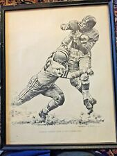 Framed Charley Conerly Lithographs 1960 Shell Oil - Robert Riger Giants