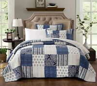 Coverlet Modern Patchwork Bedspread 100% Cotton No Polyester King Single Blue
