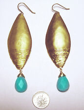 """VINTAGE 3 1/4"""" Modernist TURQUOISE EARRINGS by CITRINE"""