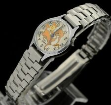 Vintage Kids ZARIA Mechanical Wrist Watch RARE Fox Dial and moving Smile USSR