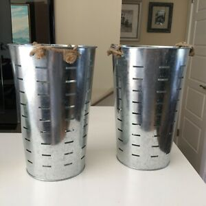 2 Modern Rustic Style Set of Two Round Perforated Metal Tall Bins Farmhouse Chic