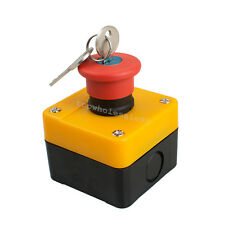 Red Sign Emergency Stop Push Button Switch With Key 660V 10A Safe Use