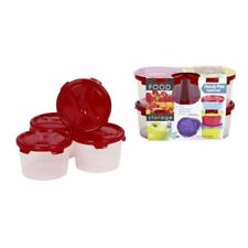 WHAM 300ml SMALL ROUND FOOD FRUIT LUNCH PICNIC BOXES CONTAINER 4 PACK 16345 RED