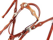 WESTERN SILVER HORSE TRAIL BRIDLE LEATHER HEADSTALL BREASTCOLLAR REINS TACK SET