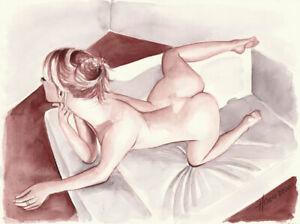 Original Aquarell 30x40, Zeichnung,Caput Mortuum, Akt, nude, Erotik Akt