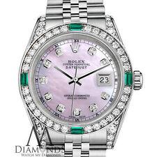 Women's Rolex 26mm Datejust Pink MOP Jubilee Bracelet Custom Emerald Diamonds