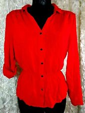 Miss Tina by Kina Knowles Womens med Red button up peplum shirt cuff sleeve