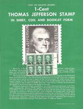 #1278 1c Jefferson Stamp Poster- Unofficial Souvenir Page Flat w/FDC PB6