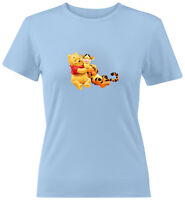 Bear and Tigger Friends Juniors Tee T-Shirt Gift Cartoon Disney Winnie the Pooh