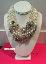 NWT Rare Betsey Johnson Runway Faux Pearl Statement Crystal Flower Necklace