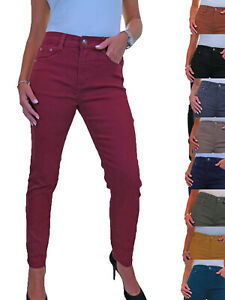 Ladies Slim Leg High Waisted Stretch Denim Jeans Solid Colour 10-22