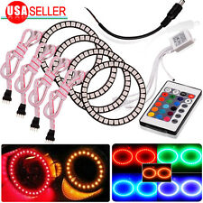 4X 80MM Multi-color RGB 5050 Flashing Angel Eyes Halo Ring Bulbs LED Remote kit